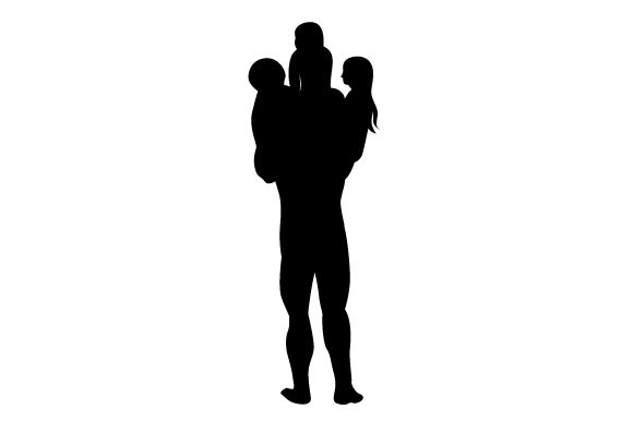 Download Free Silhouette Of Kids On Dads Shoulder Svg Cut File By Creative for Cricut Explore, Silhouette and other cutting machines.