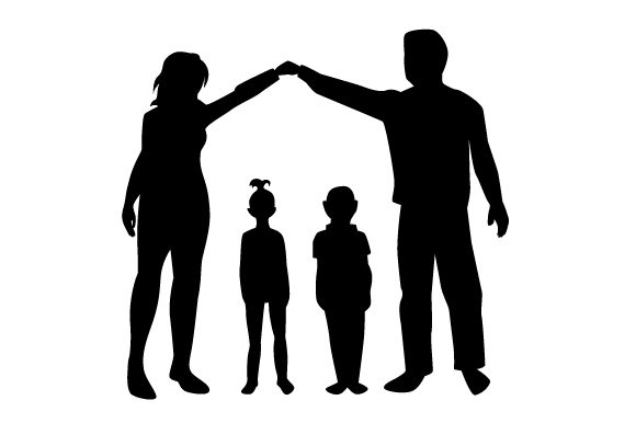 Silhouette of Mum and Dad Makeing a Roof out of They Hands over Two Kids Family Craft Cut File By Creative Fabrica Crafts