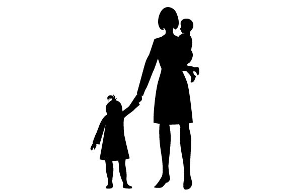 Download Free Silhouette Of Mum And Kids Svg Cut File By Creative Fabrica for Cricut Explore, Silhouette and other cutting machines.