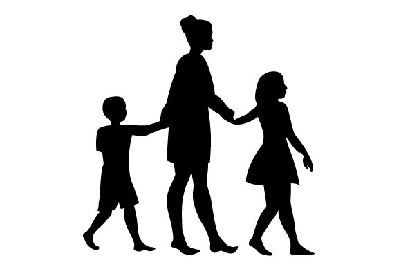Download Free Silhouette Of Mum With Two Kids Either Side Holding Hands Svg Cut for Cricut Explore, Silhouette and other cutting machines.
