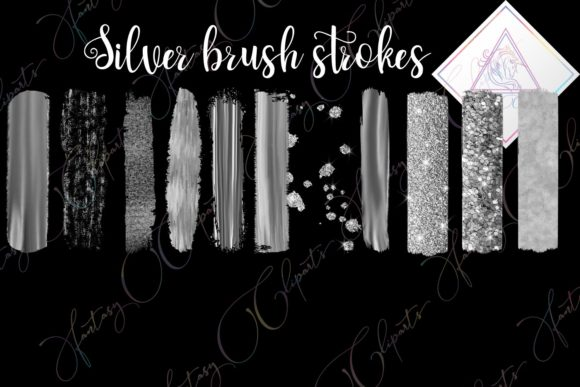 Print on Demand: Silver Brush Strokes Clipart Graphic Objects By fantasycliparts