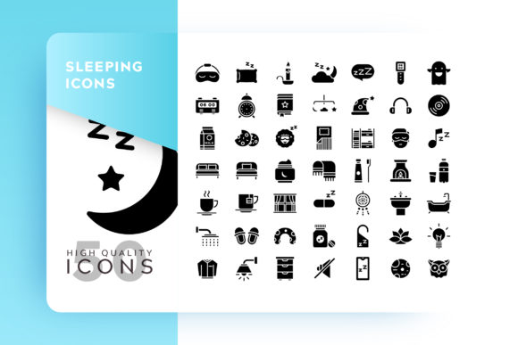 Sleeping Glyph Icon Bundle Graphic By Goodware.Std