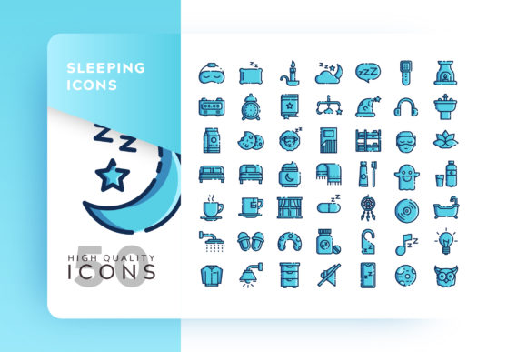 Print on Demand: Sleeping Monochrome Icon Bundle Graphic Icons By Goodware.Std - Image 1