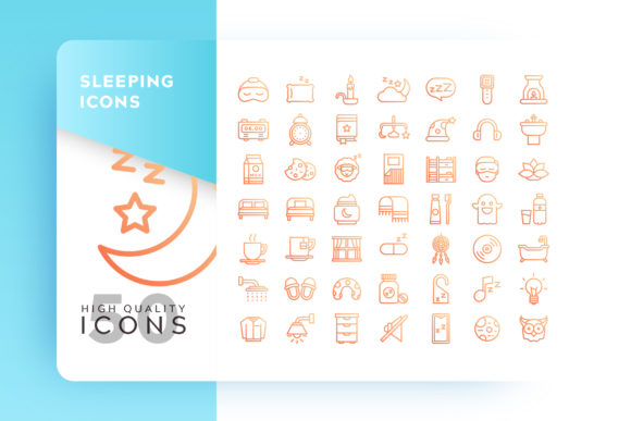 Sleeping Outlined Icon Bundle Graphic By Goodware.Std