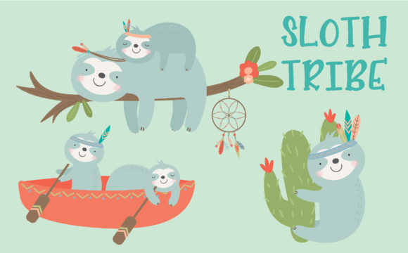 Print on Demand: Sloth Tribe Graphic Illustrations By poppymoondesign