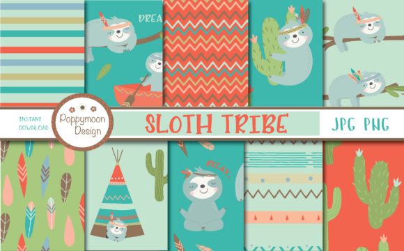 Print on Demand: Sloth Tribe Paper Graphic Patterns By poppymoondesign