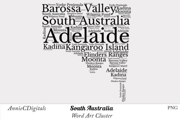 Download Free South Australia Word Art Cluster Graphic By Anniecdigitals for Cricut Explore, Silhouette and other cutting machines.