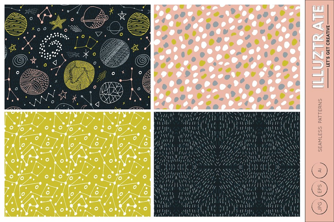Download Free Space Vector Patterns Graphic By Illuztrate Creative Fabrica for Cricut Explore, Silhouette and other cutting machines.