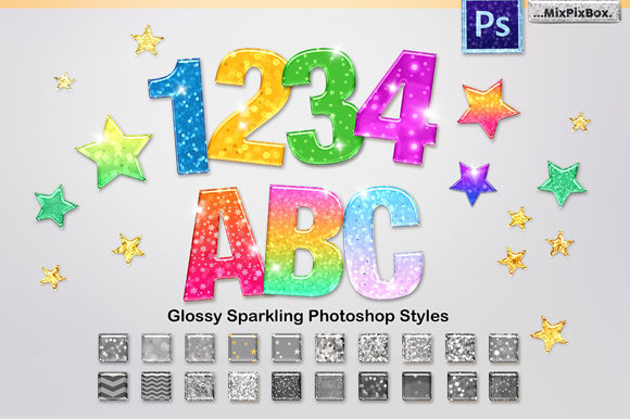 Print on Demand: Sparkling Glossy Layer Styles for PS Graphic Layer Styles By MixPixBox