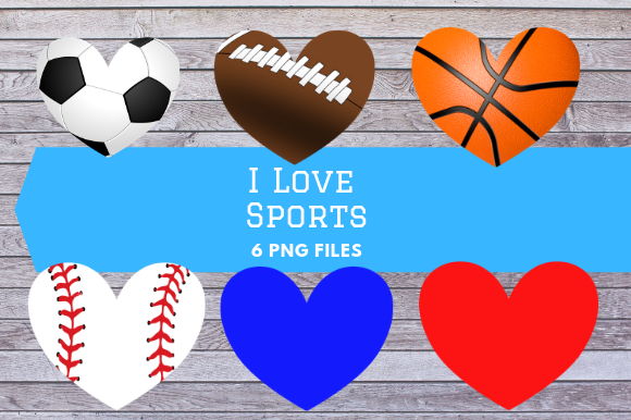 Download Free Sporty Ball Hearts Clip Art Graphic By Jpjournalsandbooks for Cricut Explore, Silhouette and other cutting machines.