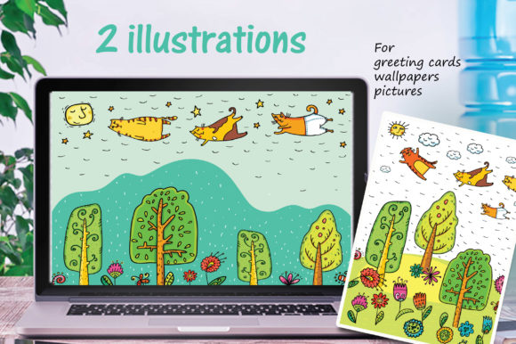 Download Free Spring Cats 42 Objects Graphic By Zooza Art Creative Fabrica for Cricut Explore, Silhouette and other cutting machines.