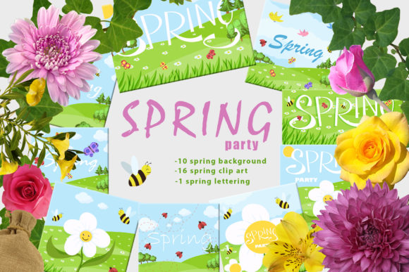 Print on Demand: Spring Party Graphic Illustrations By InkandBrush