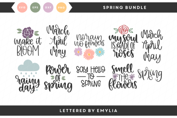 Download Free Spring Bundle Grafik Von Lettered By Emylia Creative Fabrica for Cricut Explore, Silhouette and other cutting machines.