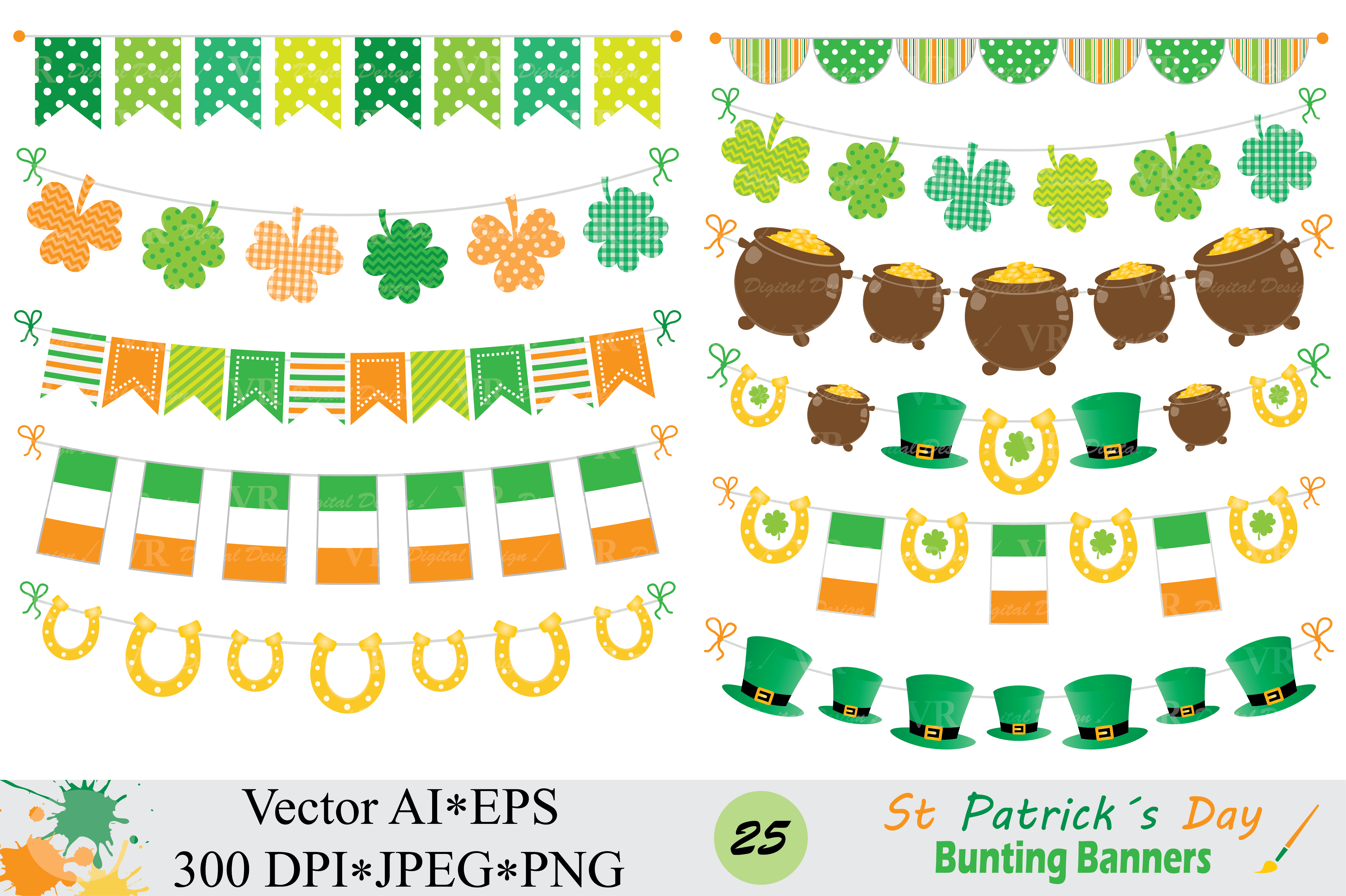 Download Free St Patrick S Day Bunting Banner Clipart Graphic By Vr Digital for Cricut Explore, Silhouette and other cutting machines.