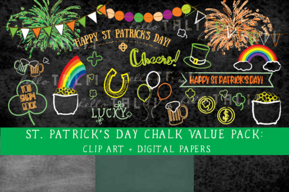 St Patrick's Day Chalkboard Clipart + Paper Graphic Illustrations By Hello Talii