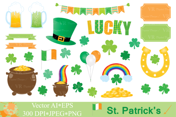 St Patrick`s Day Clipart Graphic Illustrations By VR Digital Design