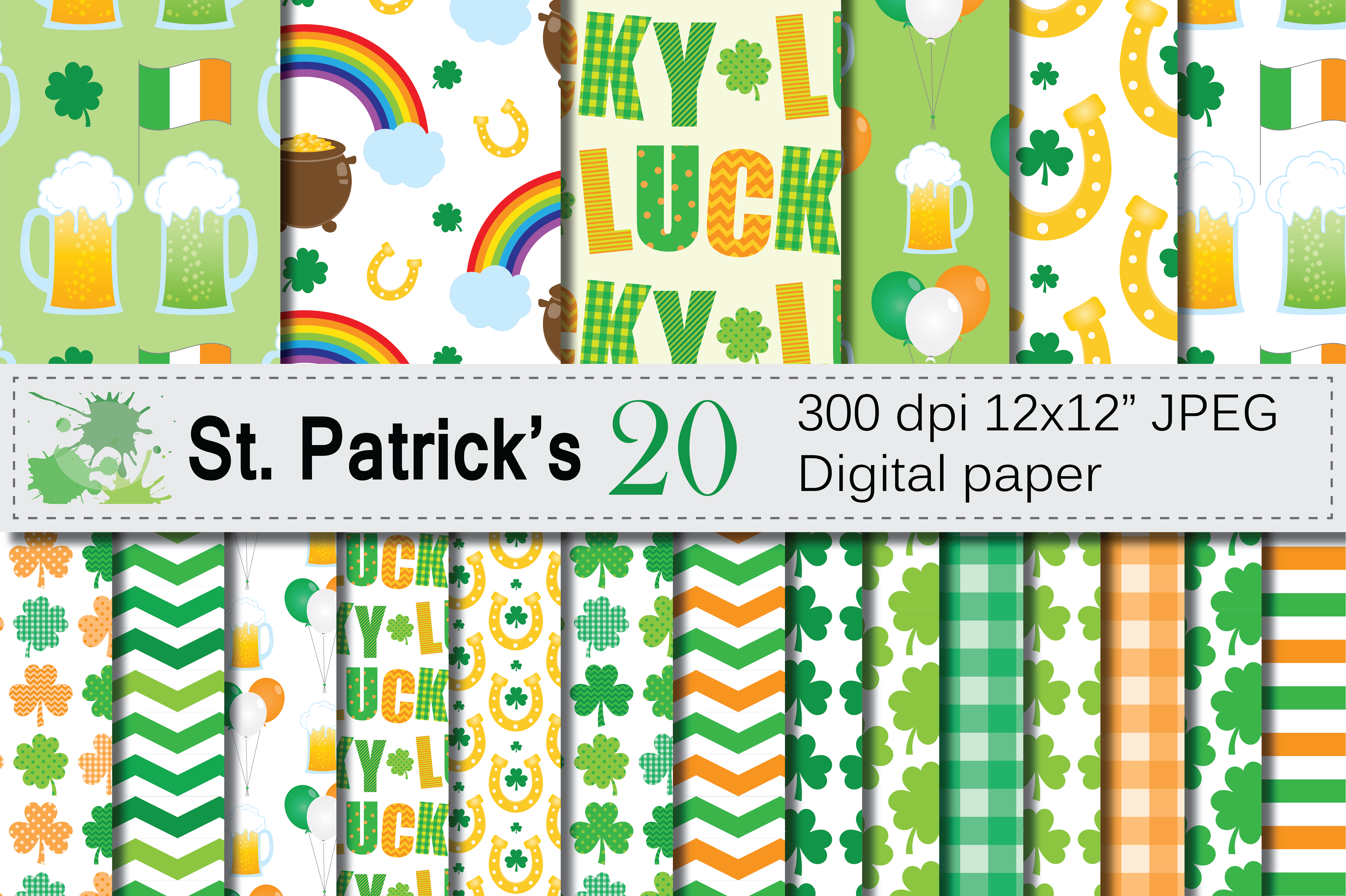 Download Free St Patrick S Day Digital Paper Graphic By Vr Digital Design for Cricut Explore, Silhouette and other cutting machines.