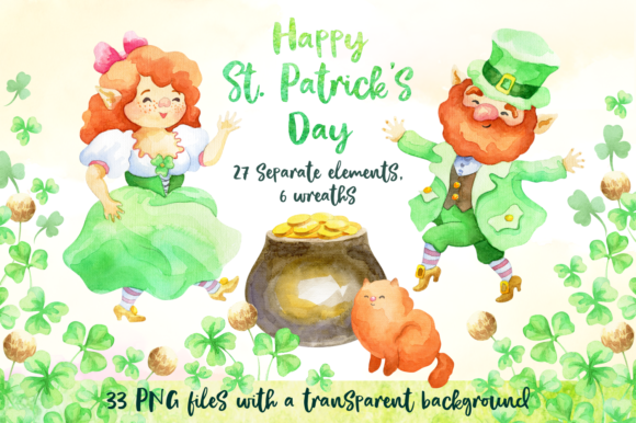 St. Patrick's Day Watercolor Set Graphic By Olga Belova