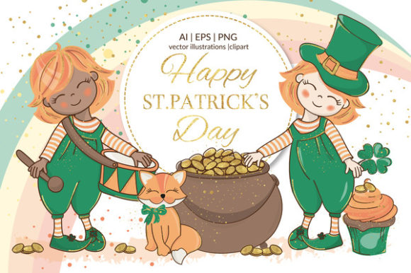 St Patrick's Day Holiday Cartoon Graphic Illustrations By FARAWAYKINGDOM