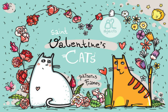 Print on Demand: St.Valentine's Cats - 82 Elements Graphic Illustrations By Zooza Art