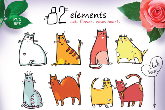 Download Free St Valentine S Cats 82 Elements Graphic By Zooza Art for Cricut Explore, Silhouette and other cutting machines.
