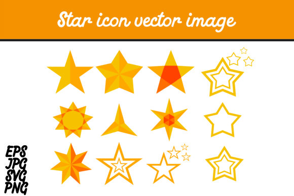 Print on Demand: Star Icon Set Vector Image Graphic Icons By Arief Sapta Adjie