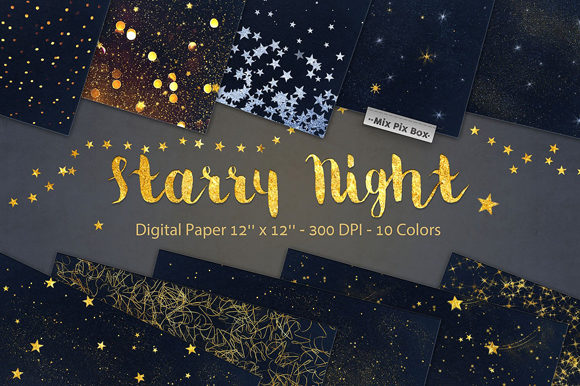 Print on Demand: Starry Night Backgrounds Graphic Backgrounds By MixPixBox
