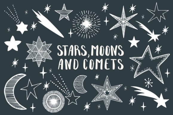 Stars, Moons & Comets Graphic Illustrations By anatartan