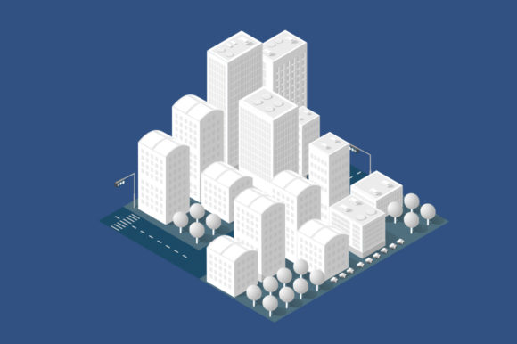 Street Town Buildings Modern 3D Graphic Image