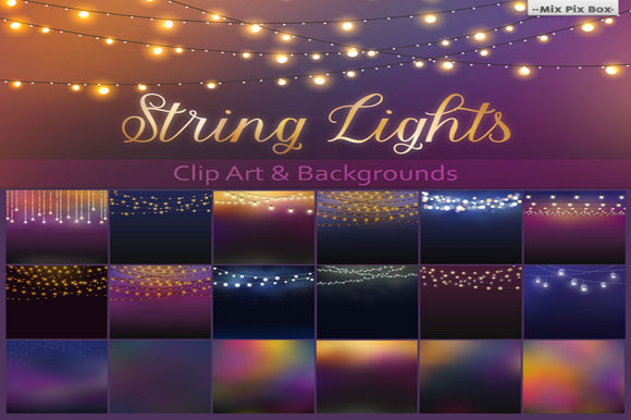 Print on Demand: String Lights Clipart Graphic Illustrations By MixPixBox - Image 1
