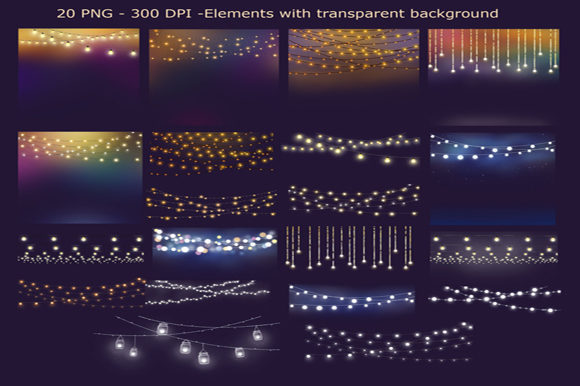 Download Free String Lights Clipart Graphic By Mixpixbox Creative Fabrica for Cricut Explore, Silhouette and other cutting machines.