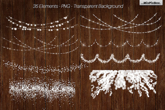 Print on Demand: String Lights V3 Clipart+backgrounds Graphic Illustrations By MixPixBox - Image 2