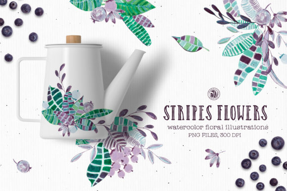 Stripes Flowers Graphic Illustrations By webvilla