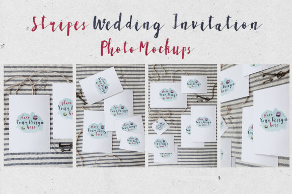 Download Free Stripes Wedding Invitation Mockup Graphic By Blue Robin Design for Cricut Explore, Silhouette and other cutting machines.
