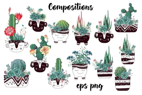 Succulents in Green Graphic By nicjulia Image 2