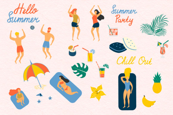 Summer Chill out Hand Drawn Summer Elements