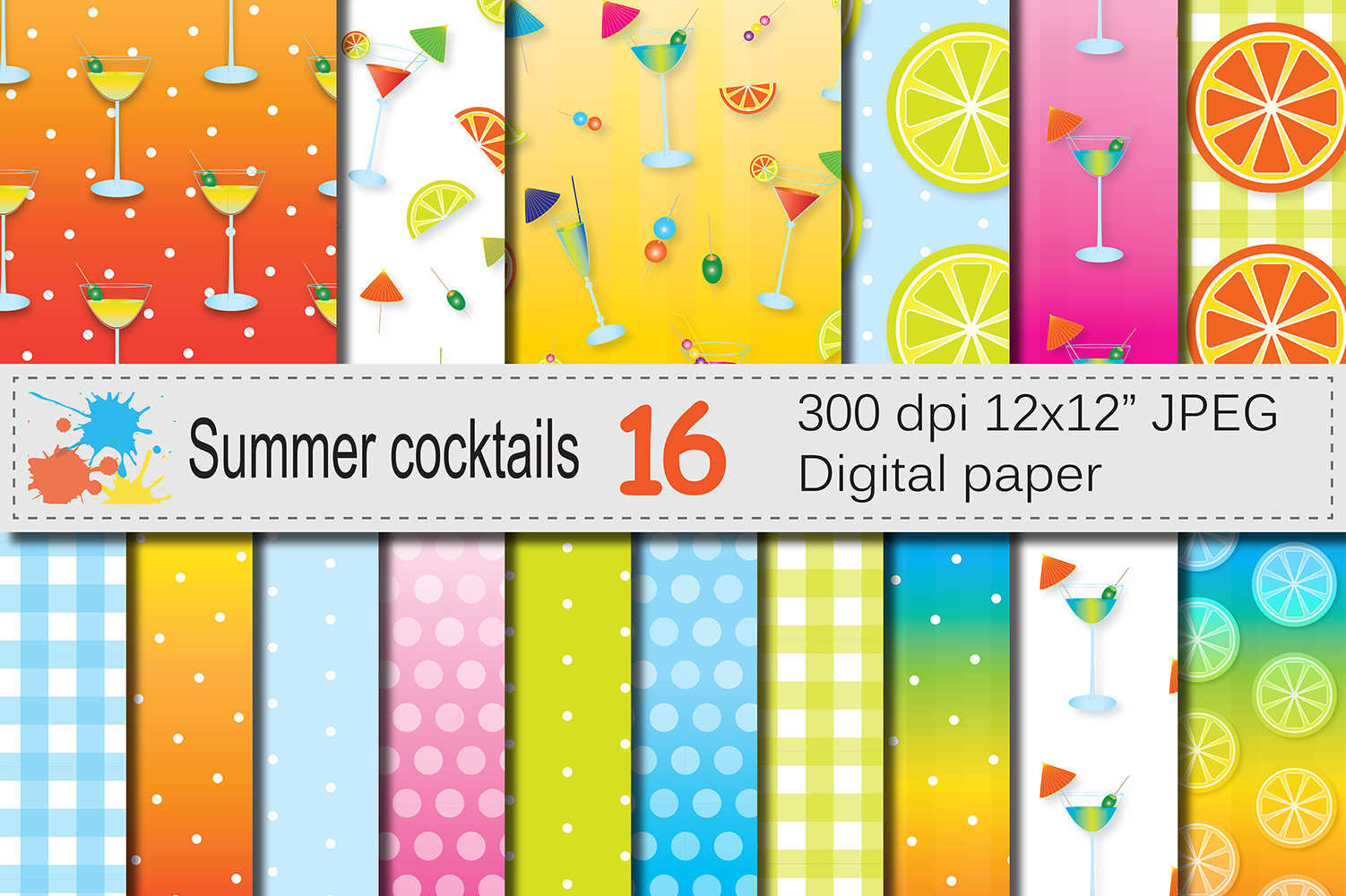 Download Free Summer Cocktails Digital Papers Graphic By Vr Digital Design for Cricut Explore, Silhouette and other cutting machines.