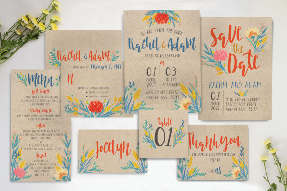 Download Free Summer Floral Wedding Invitation Suite Graphic By Blue Robin for Cricut Explore, Silhouette and other cutting machines.