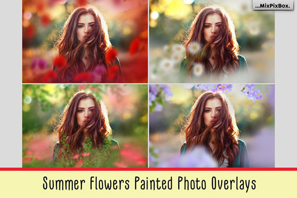 Print on Demand: Summer Flowers Painted Overlays Graphic Layer Styles By MixPixBox
