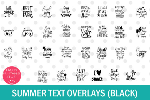Print on Demand: Summer Text Overlays Graphic Illustrations By Happy Printables Club - Image 4