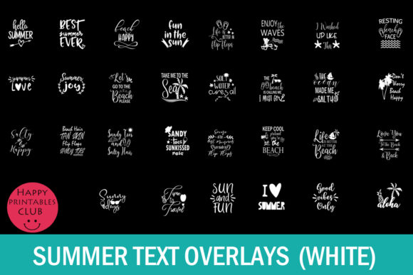 Print on Demand: Summer Text Overlays Graphic Illustrations By Happy Printables Club - Image 5