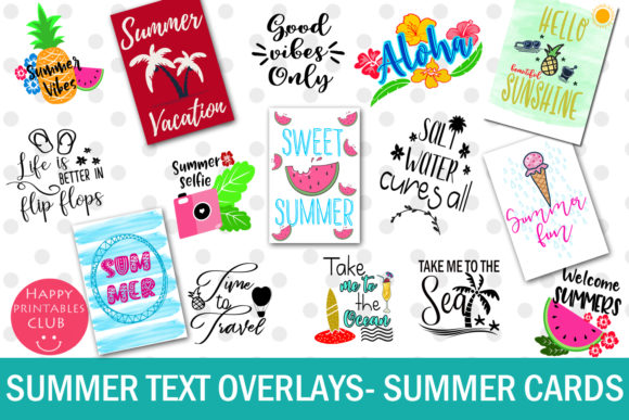 Print on Demand: Summer Text Overlays Graphic Illustrations By Happy Printables Club