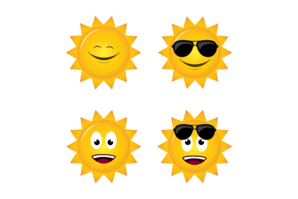 Print on Demand: Sun Emoticons Graphic Illustrations By sabavector