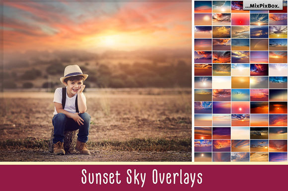 Print on Demand: Sunset Sky Photo Overlays Graphic Layer Styles By MixPixBox
