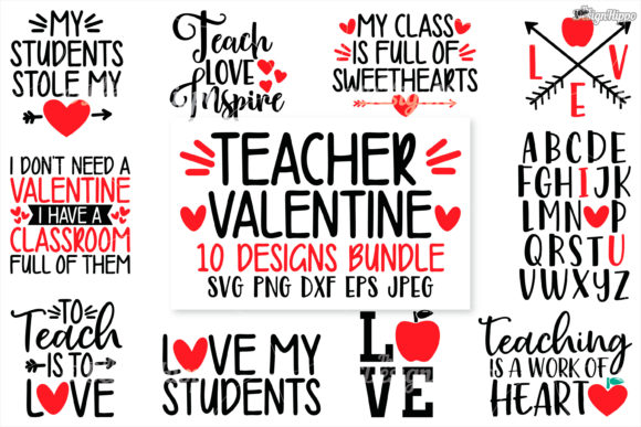 Teacher Valentine SVG Bundle Graphic Crafts By thedesignhippo