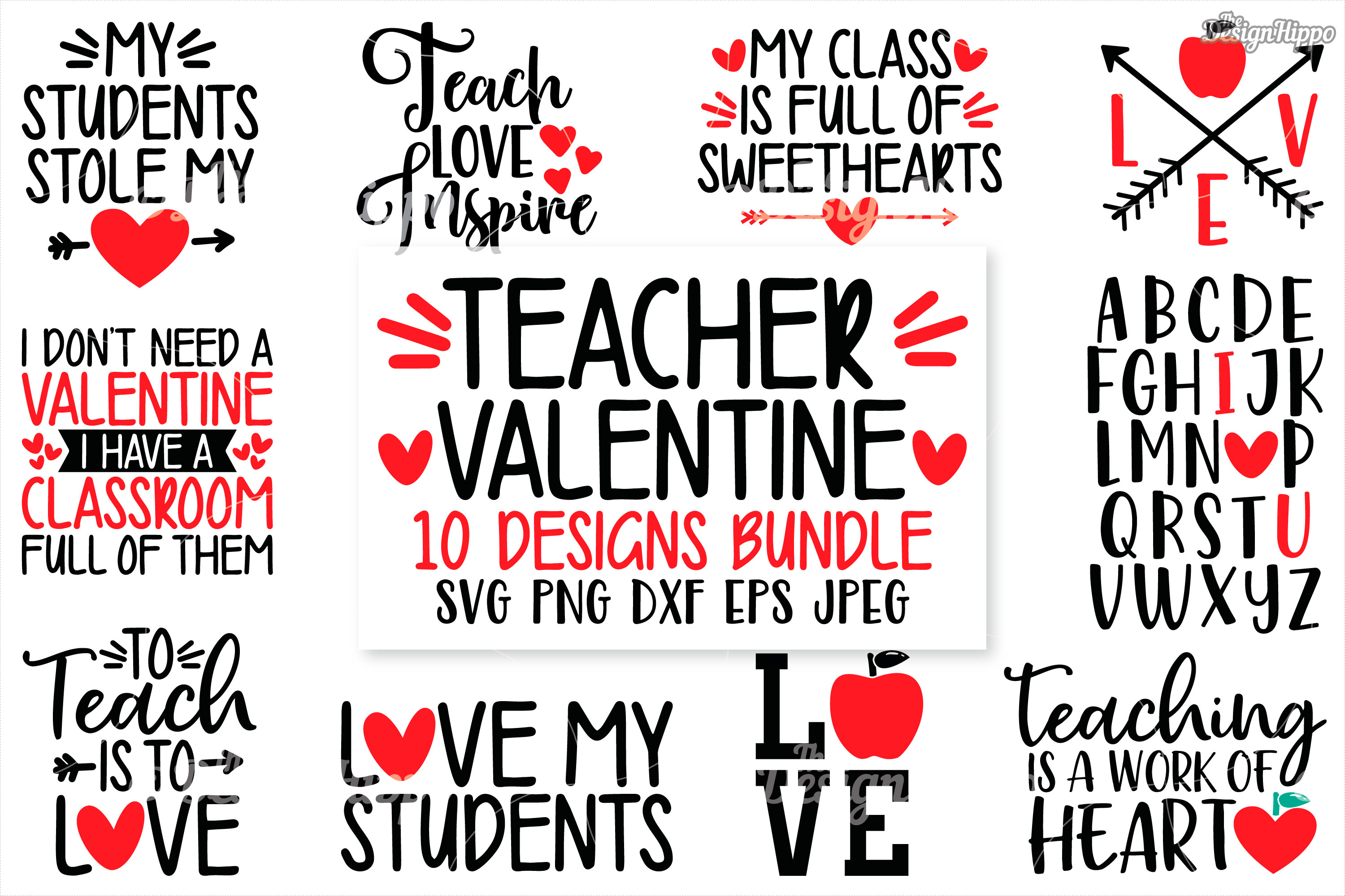 Download Free Teacher Valentine Bundle Graphic By Thedesignhippo Creative for Cricut Explore, Silhouette and other cutting machines.