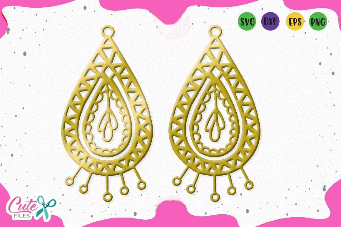 Download Free Tear Drop Earrings Template Svg Graphic By Cute Files Creative for Cricut Explore, Silhouette and other cutting machines.