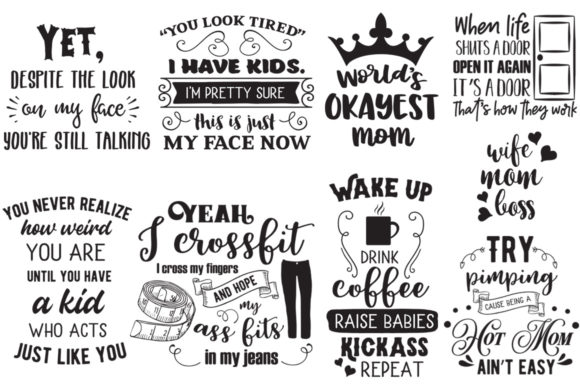 The Sarcastic Mom Bundle Graphic Crafts By Nerd Mama Cut Files - Image 2