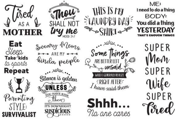 Download Free The Sarcastic Mom Bundle Graphic By Nerd Mama Cut Files for Cricut Explore, Silhouette and other cutting machines.