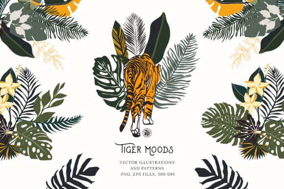 Tiger Moods Graphic Illustrations By webvilla